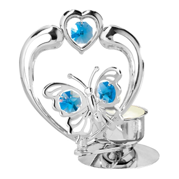 Chrome Butterfly In Heart Tea Light Candle Holder Swarovski Element 6 Colors Mascot International Inc