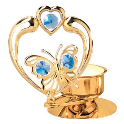 24k Gold Butterfly In Heart Tea Light Candle Holder Swarovski Element 6 Colors Mascot International Inc